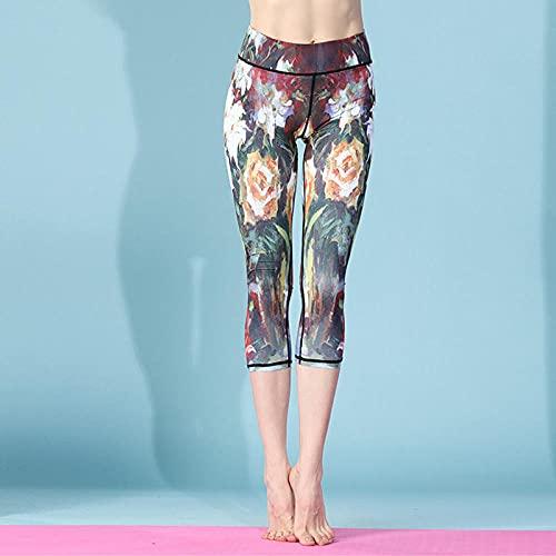 ArcherWlh Yoga Pantalones Mujer,Europa y los Estados Unidos Modelos de explosión 3D Impresión Digital de Siete Puntos Pantalones de Yoga de Verano Nuevo Gimnasio de suéteres-orquídea_S