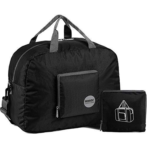 Faltbare Reisetasche 20-50L Superleichte Reisetasche für Gepäck Sport Fitness Wasserdichtes Nylon von WANDF (Schwarz, 20L)