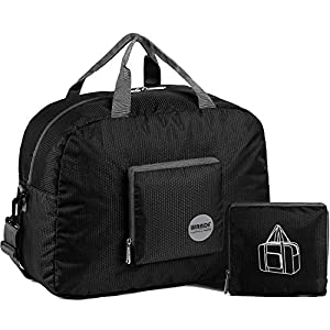 """WANDF 16"""" ~ 22"""" Foldable Duffle Bag 20L ~ 50L for Travel Gym Sports Lightweight Luggage Duffel 10 Color Choices (Black 16"""", 16 inches (20 Liter))"""