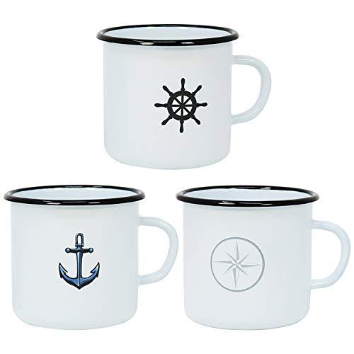 com-four® 3X Emaille Deko-Becher aus emaliertem Stahl in 3 verschiedenen maritimen Designs - Kaffeetasse für Outdoor und Camping - 350 ml