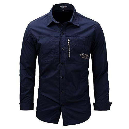 Camisas de Carga con diseño de Personalidad de Solapa para Hombre, Ropa de Calle de Moda, Camisas de Trabajo de Combate de Manga Larga con Cremallera y Costuras de Color sólido XL