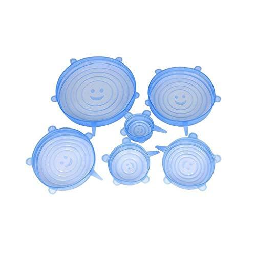 6-delige universele deksels van siliconen, 6-delige set, vershouddeksel, koelkast, met magnetron verzegelde plastic folie