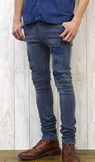 """(ヌーディージーンズ)Nudie Jeans ヌーディージーンズ NUDIE JEANS""""HIGH KAI""""ハイカイ タイト フィット ジーンズ ジーパン・Gパン・デニム リメイク加工 パワーストレッチ ORG.BLUE ON BLACK 39..."""