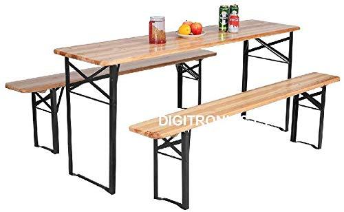 CruiseTech® 3 Pcs Portable Wooden Folding Picnic Beer Table Bench Trestle Patio Outdoor Garden Pub Adult Size (Large (120x50x75 cm) (Large (120x50x75 cm))