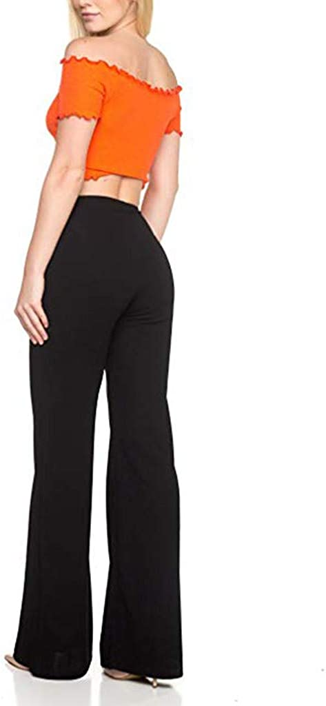 WUAI-Women Womens Bootcut Yoga Pants Stretch High Wasit Office Business Casual Yoga Work Pants Bootleg Wide Leg Pants