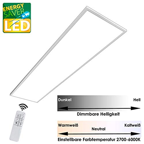 LED Panel Marlies, 42 Watt, 120cm mit Funk-Fernbedienung, dimmbar, variable Farbtemperatur 2700-6500K (120x30cm)