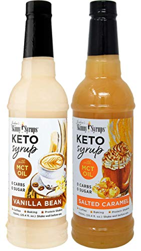 Jordan's Skinny Syrups Keto Vanilla Bean and Salted Caramel with MCT Oil 750 ml Bottles (Pack of 2) and 2 By The Cup Syrup Pumps