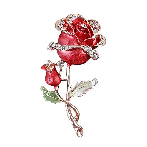 Reizteko Womens Belle Red White Purple Violet Rose Flower Enamel Crystal Rhinestone Brooch Pin Golden Tone (Red)