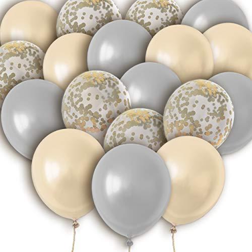 Pumpko Decor Luftballon Deko Set, 30 Ballons mit Konfetti für Geburtstag, Hochzeit, Babyparty, Dekoration - Perfekte Hochzeitsdeko & Geburtstagsdeko - Helium Gas geeignet - Champagner Hellgrau Weiß