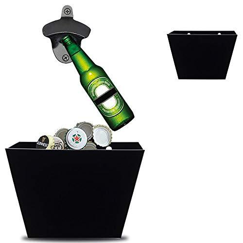HaavPoois Receptor de tapa, caja tapa botella, soporte tapa botella montado en la pared, abrebotellas cerveza acero inoxidable y juego recogedor de tapa de botella