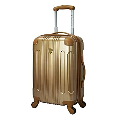 Travelers Club 20  Carry-On Polaris Collection  Metallic Color Accented Hardside Expandable Luggage, Pale Gold Color Option