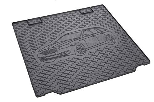 Passgenau Kofferraumwanne geeignet für BMW 5er Touring F11 ab 2010 ideal angepasst schwarz Kofferraummatte + Gurtschoner