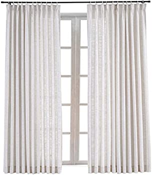 TWOPAGES 72 W x 102 L inch Pinch Pleat Darkening Drapes Faux Linen Curtains Drapery Panel for Living Room Bedroom Meetingroom Club Theater Patio Door  1 Panel ,Beige White