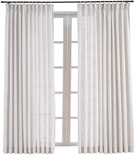 TWOPAGES 100 W x 84 L inch Pinch Pleat Darkening Drapes Faux Linen Curtains Drapery Panel for Living Room Bedroom Meetingroom Club Theater Patio Door (1 Panel),Beige White