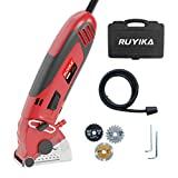 Mini Circular Saw, RUYIKA 600W 4500RPM Multi Function Tool, 3 Saw Blades, 54.8mm Wood Tile Metal Blades with Guide, Cutting Depth 0-12mm Ideal for Wood, Soft Metal, Tile and Plastic Cuts
