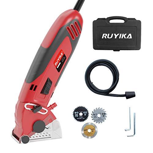 Mini Circular Saw, RUYIKA 600W 4500RPM Multi Function Tool, 3 Saw Blades,...