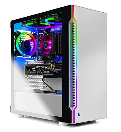 SkyTech Archangel 3.0 Gaming Computer PC Desktop - Ryzen 5 3600 6-Core 3.6GHz, RTX 2060 6G, 1TB SSD, 16GB DDR4 3000, B450 MB, RGB Fans, AC WiFi, Windows 10 Home 64-bit, White