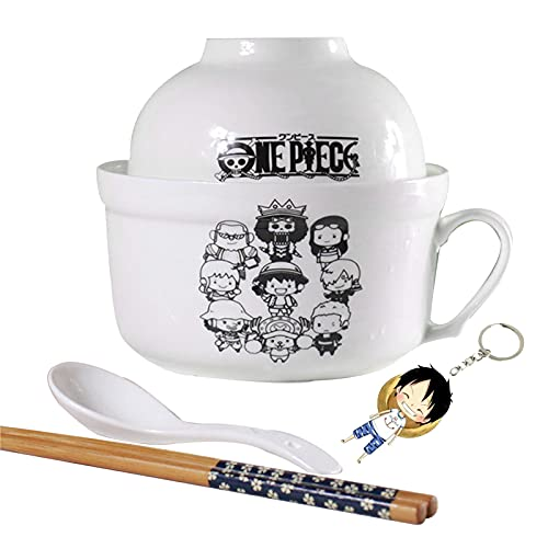LVMMO Japanese Ceramic Naruto Ramen Bowl Set of 5 - One Piece Anime Noodle Bowl with Soup Spoon, Chopstick and Keychain - Anime Soup Bowls for Noodle, Ramen, Udon, Miso, Pho Soup