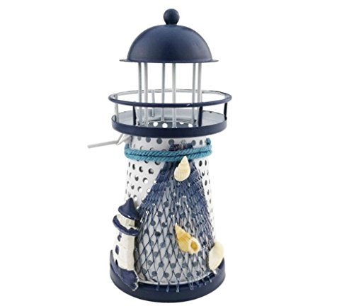 Winterworm Stile mediterraneo ferro metallo blu e bianco Lighthouse Beacon Pharos portacandele Home Cafe Shop decorazione regalo natalizio