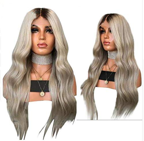JPDP Ondulé 13x4 Lace Front Hair Wig 4T60 Ombre Ash Blonde Grey with Dark Root Peruvian Remy Hair Preplucked Baby Hair 20inches T460