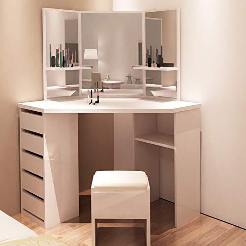 TUKAILAI Weiß Eckschminktisch mit Hocker und Spiegel Frisierkommode Frisiertisch Kosmetiktisch mit 5 Schubladen Schlafzimmer Möbel