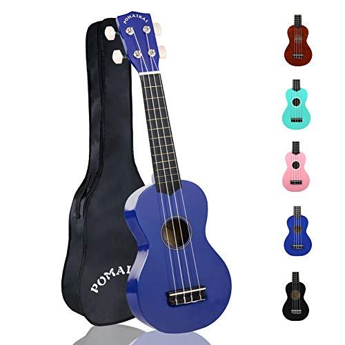 POMAIKAI Sopran Ukulele Uke 21 Zoll Hawaii Gitarre mit Tasche für Kinder und Anfänger (dunkelblau)