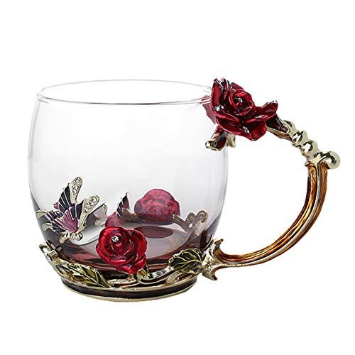 Frdun Emalj kaffe tekopp mugg 3D ros fjäril glaskoppar bröllopspresent (röd, kort; stil: utan sked)