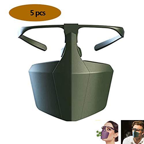 Preisvergleich Produktbild Safety Gesichtsschutzschirm,  Gesichtsschutz Sicherheitsgesichtsschutz,  Visierbeständiges Spuck-Anti-Fog-Objektiv, Schutzmaske Gesichtsschutz Visier,  Augenschutz(5 Stück), Grün