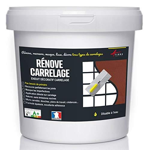 Putz für Fliesen - Fliesen verputzen - Betonbeschichtungs-Effekt - RENOVE CARRELAGE - Terrakotta - Kit 20kg - 13m² für 2 Schichten