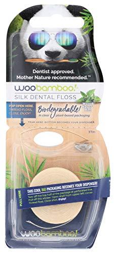 Woobamboo Bio Zahnseide aus Seide mit natürlichem Bienenwachs und Bio-Minze, 37.5 m