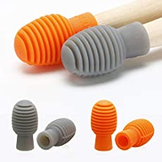 4 Pieces Drum Mute Drum Dampener Silicone Drumstick Silent Practice Tips Percussion Accessory Mute Replacement Musical Instruments Accessory (Orange and Grey)