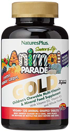 Nature's Plus Animal Parade Source of Life Gold Children's Multivitamin - Assorted Cherry, Orange & Grape Flavours - 120 Chewable Animal Shaped Tablets - Whole Foods, Gluten Free - 60 Servings