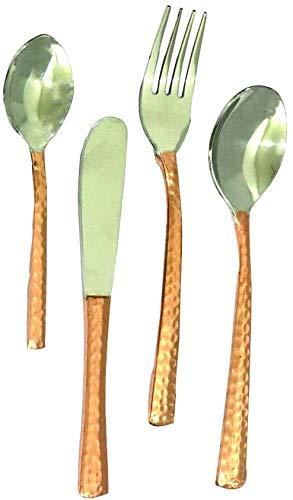 NK GLOBAL Juego de 3 cubiertos de cobre y acero inoxidable para café, cuchara de té, reutilizable, tenedor, cuchillo de mantequilla, utensilios de cocina, regalos de cobre