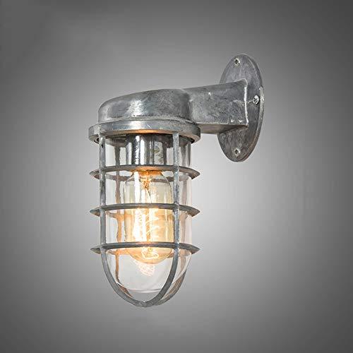 Jtivcs Marinero náutico creativo Lámpara de pared de metal retro Linterna de pared de vidrio transparente Decoración interior Iluminación de pared E27 Edison Loft Cafe Bar Luminaria de pared for mostr