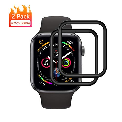 Apple Watch 38mm Vetro Temperato Pellicola Protettiva [2 Pezzi] Pellicola Proteggi Schermo Apple Watch Series 3/2/1 [3D Curved Full Coverage] Protezione Schermo per Apple Watch 38mm (Nero)