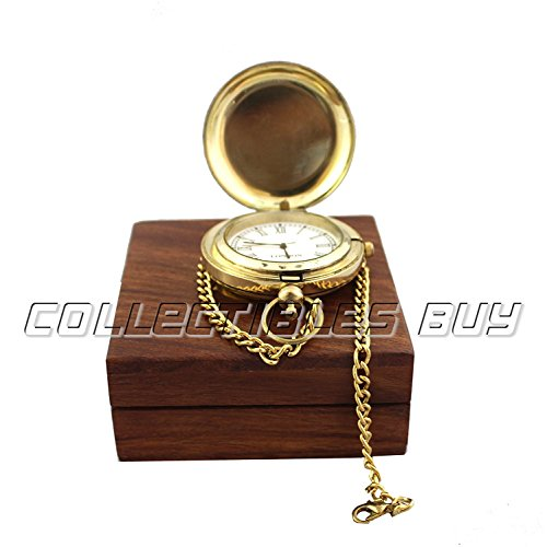 Vintage Ship Pocket Watch Brass Chain With Wooden Box Nautical Maritime Royal Clocks Antique Items