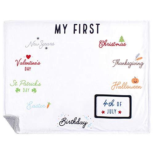 Hudson Baby Boy and Girl Milestone Plush Blanket, First Holiday