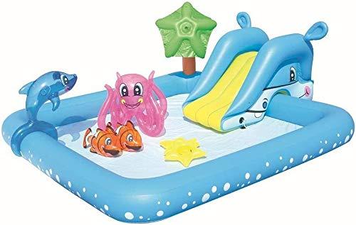 ZRQ Aufblasbares Pool Mit Rutsche, Wasserrutsche for Kinder for Sommer-Wasser-Party, PVC Verdickte Abriebfeste, Hinterhof Im Freien Garten-Haus Für Garten