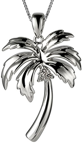 Sterling Silver Hawaiian Jewelry Palm Tree Pendant (M) with 18' Box Chain