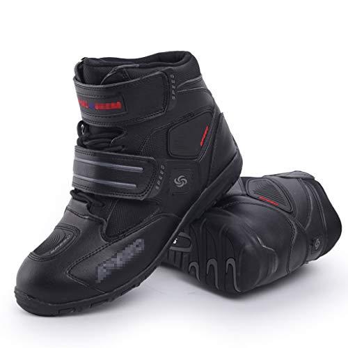WERT Hommes Moto Bottes Motocross Sport Armure de véhicules Lourds sur Route Boot Chaussures Courte Cheville Confortable Chaussures Moto,Black-42