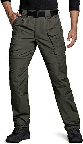 CQR Herren Tactical Hose, Imprägniermittel Ripstop Cargo Pants, Leichte EDC Wandern Arbeitshosen, Outdoor Bekleidung, Tlp109 1pack - Green, 34W / 32L