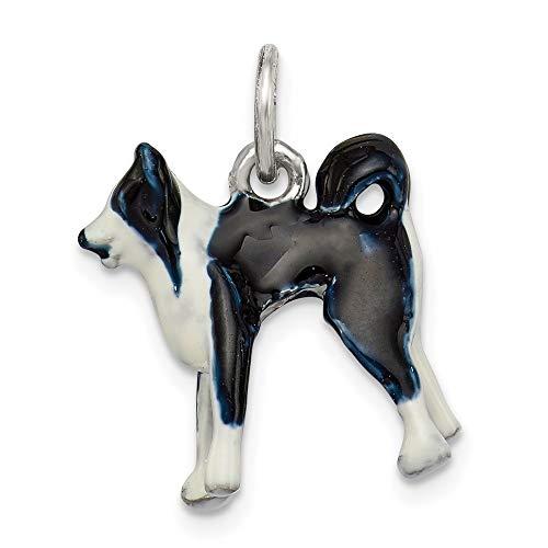Ryan Jonathan Fine Jewelry Sterling Silver Enameled Border Collie Dog Charm Pendant