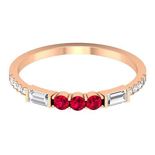 Anillo de rubí creado en laboratorio de 2,30 mm, diamante de 3,5 x 2 mm Baguette, anillo de compromiso de 3 piedras, anillo de mitad de eternidad, anillo de oro, 14K Oro rosa, Size:EU 62