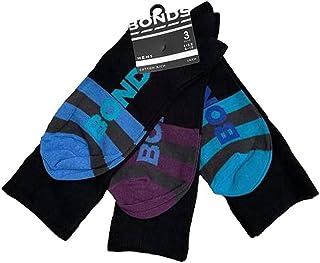 3 Pairs X Mens Bonds Business Crew Socks Black With Blue/Aqua/Purple Stripes Shoe Size 6-10 Black with Blue/Aqua/Purple St...