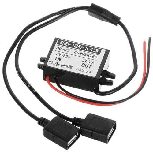 HaiMa Buck Converter 15W Régulateur De Tension 8-52V À 5V 3A Double USB Voiture Adaptateur d'alimentation-Noir