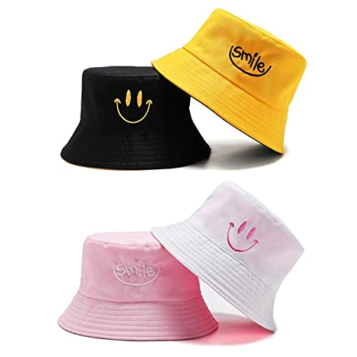 2Pcs Gorros Sombreros de Pescador Bucket Hat Doble Cara Sonriente Sombrero de Cubo Plegable Sombrero de Sol de Playa Verano Gorro de Pescador al Aire Libre para Senderismo Camping Playa, 58 cm