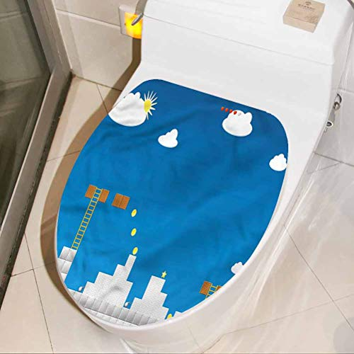 Homesonne Removable Toilet Seat Sticker Boys Room, Computer Video Games Decals Art Mural Bathroom/Toilet/PVC/Kitchen 3D Wall Decals 17 x 21 Inch