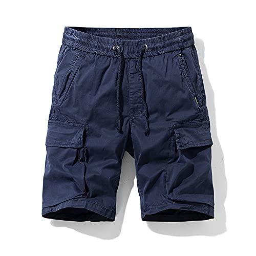 Pantalones Cortos Tipo Cargo para Hombre, Moda, Color sólido, Tendencia, Ropa de Calle al Aire Libre, Bolsillo con Costuras, Pantalones Cortos Deportivos Rectos Casuales 34