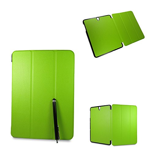 Digital Bay Samsung Galaxy Tab S3 9.7 Cover Custodia - Slim Smart Cover Custodia Protettiva in pelle PU per Samsung Galaxy Tab S3 9.7 SM-T820 / T819 Tablet, Verde + Pellicola Protettiva + Pannetto