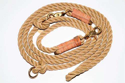 Hundeleine Tau 250cm Natur/Leder Natur/Messing